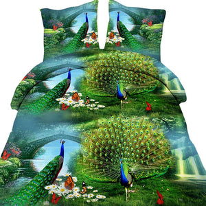 4PCS 3D Peacock Print Bedding Sets Bedspread Queen Size Full Double Duvet Cover Set Bed in a Bag Sheet linen quilt doona bedset - Deals Blast