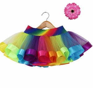 Girls Rainbow Tutu Skirt Kids Ballet Pettiskirt Toddler Children Birthday Party Tutu Baby Skirt Summer Flower Girl Tulle Skirt - DealsBlast.com