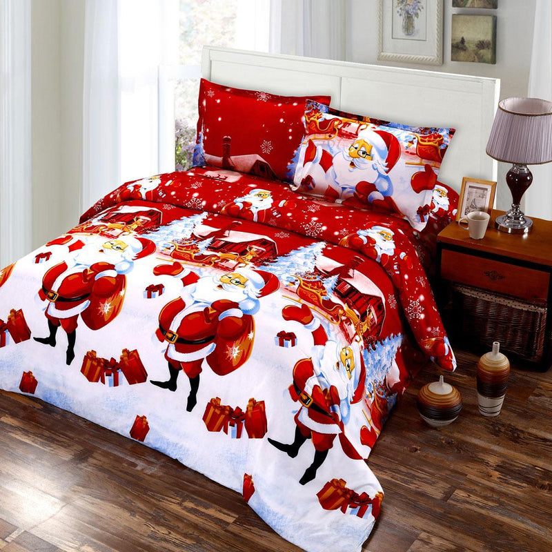 4 PCS 3D Bed Sheet 2 Pillow Cases Printed Cartoon Merry Christmas Gift Santa Claus Deep Pocket - DealsBlast.com