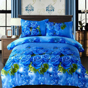 4pcs Bedding Set 3D Flower Plant Printed Quilt Cover Comfortable Cover Set Bedspread Cover Bed Sheet - Deals Blast