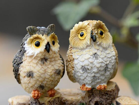 4pcs/lot cute owl fairy garden gnome animals/moss terrarium home decor/crafts/bonsai/doll house/miniatures