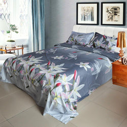 3D Bedding Set Bedclothes Lily on Light Black Background - Deals Blast