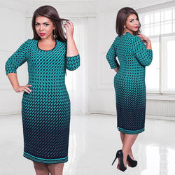 5XL 6XL Plus  Size 2017 Summer Printed Green Pink White Straight Dresses Vestidos - DealsBlast.com