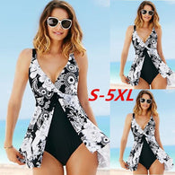 5XL Plus Size One Piece Swimsuit  Sexy Women Sleeveless Deep V-neck Print High Waist Irregular Swimwear Backless Monokini - DealsBlast.com