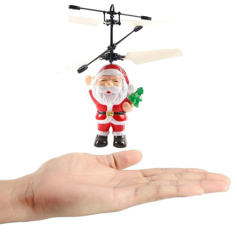 Funny Electric Infrared Sensor Flying Ball Father Christmas Helicopter LED Light Toy - DealsBlast.com
