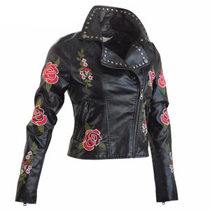 Embroidery Women Jacket Spring Autumn Long Sleeve Slim Faux Leather - DealsBlast.com
