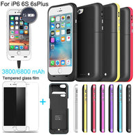 6800/3800mAh External power bank case Power pack Charger Backup Battery Case For iphone 6 6s Plus with USB line Tempered glass - DealsBlast.com