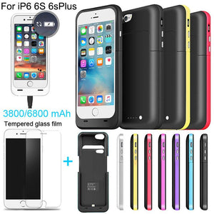 6800/3800mAh External power bank case Power pack Charger Backup Battery Case For iphone 6 6s Plus with USB line Tempered glass - Deals Blast