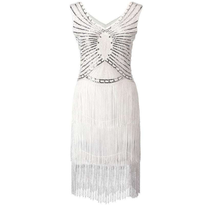 1920s Gatsby Charleston Sequin Off White Bead Fringe Flapper Dress Vestido Double V-Neck Sleeveless Tiered Tassel Party Dress - DealsBlast.com