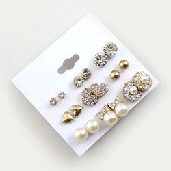9 Pairs/Set Earrings Fashion Elegant Shiny Gold Colour Heart Crystal Pearl Flowers Stud Earrings Cute Super Value Earring Sets - Deals Blast