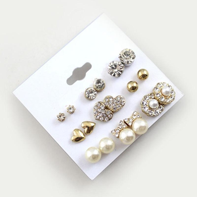 9 Pairs/Set Earrings Fashion Elegant Shiny Gold Colour Heart Crystal Pearl Flowers Stud Earrings Cute Super Value Earring Sets - DealsBlast.com