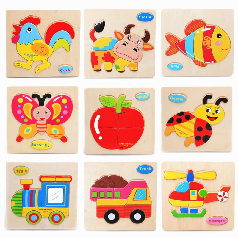 9 Pcs/lot Quality Three-Dimensional Colorful Wooden Puzzle Educational Toys Developmental Baby Toy Child Early Training Game - DealsBlast.com