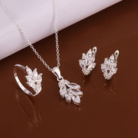 sterling silver 925-sterling-silver fashion jewelry Crystal flower necklace&earrings&ring jewelry sets for women - DealsBlast.com