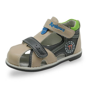 kids summer shoes hook & loop closed toe toddler boys sandals orthopedic sport leather baby boys sandals shoes - Deals Blast