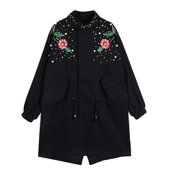 Coat With Floral Embroidery - DealsBlast.com