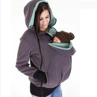 Kangaroo Hoodies Sweatshirts Zipper To Keep Baby & Mother Warm in Autumn Multi-functional baby Sleeping Removable Women Casual Pouch