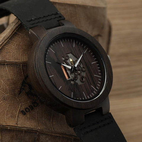 Black Wood Mens Watch Quartz Watches Real Leather Band Wooden Wristwatches Vintage Relogio Masculino