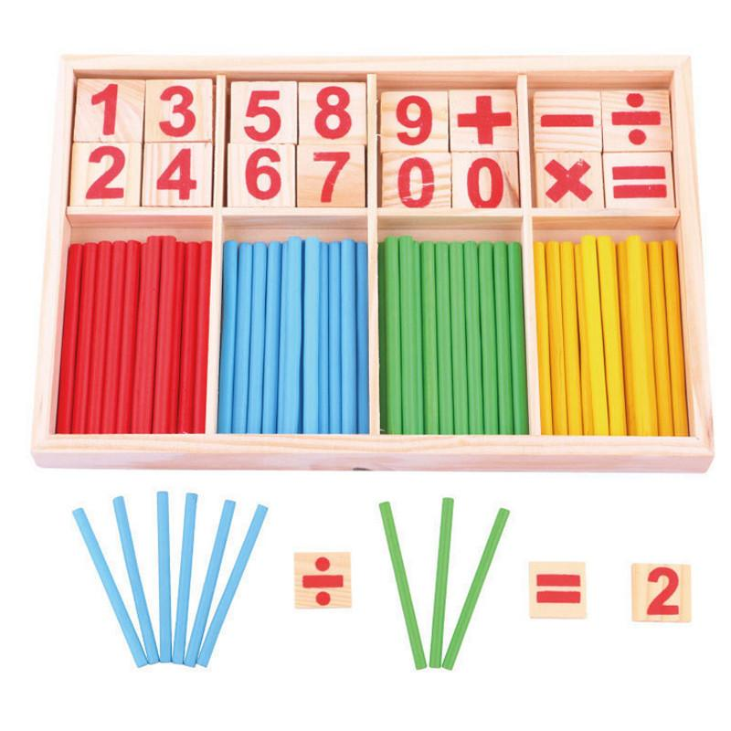 Baby Toys Counting Sticks Education Wooden Toys Building Intelligence Blocks Mathematical Wooden Box Child Gift - DealsBlast.com