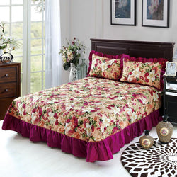Bedding cotton set 3pcs/set quilted bedspread + 2 pillowcase Ruffles - Deals Blast