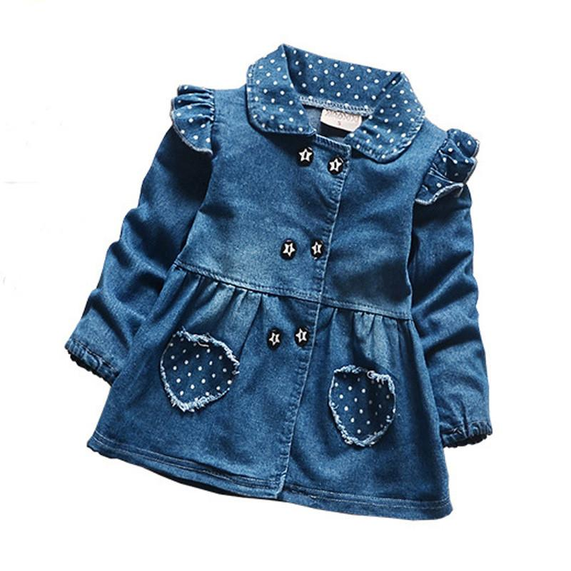 Baby Girls Denim Jackets Lovely Heart pocket Dot kids Outerwear For Girls Long Sleeve autumn spring Jeans coats Clothes - DealsBlast.com