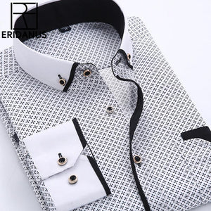 Big Size 4XL Men Dress Shirt Long Sleeve Slim Fit Button Down Collar High Quality Printed Business Shirts - DealsBlast.com