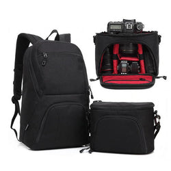 Black Large Capacity 2 in 1 Photo Camera Shoulders Padded Travel Waterproof Backpack Carrying Bag Video Tripod Laptop Case Bags - Deals Blast