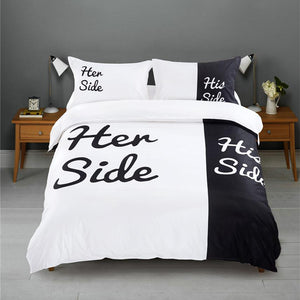 Black&white Her Side His Side Bedding Sets Queen/King Size Double Bed 3pcs/4pcs - DealsBlast.com