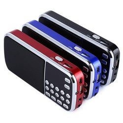 Blue Black Red Mini Portable Digital Stereo FM Mini Radio Speaker Music Player with TF Card USB AUX Input Sound Box - DealsBlast.com