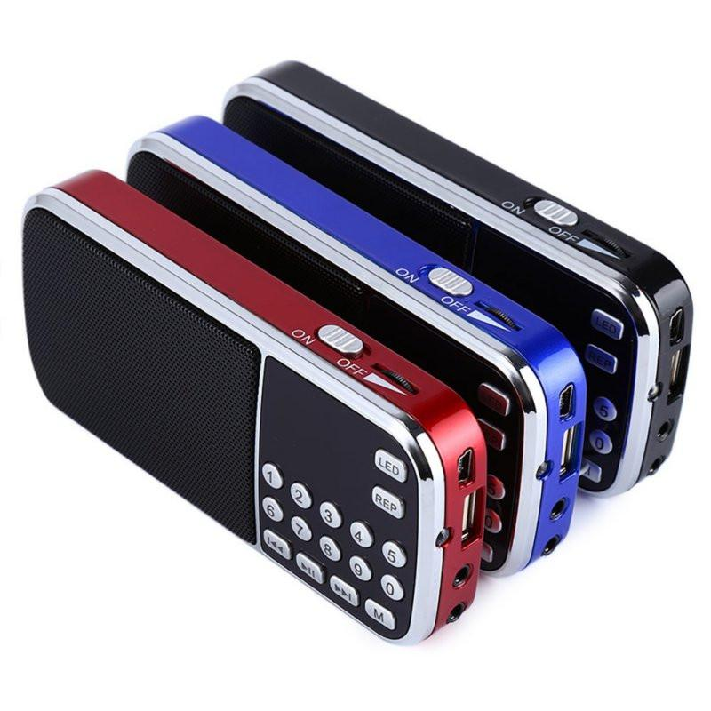 Blue Black Red Mini Portable Digital Stereo FM Mini Radio Speaker Music Player with TF Card USB AUX Input Sound Box - Deals Blast