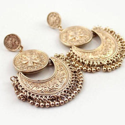 Boho Beaded Tassel Earrings For Women Fashion Ethnic Jewelr Antique Gold Color Vintage Flower Carved Multilayer Long Earring - Deals Blast
