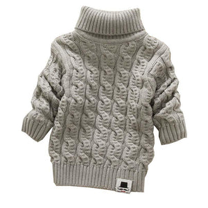 Boys Girls Turtleneck with Beard Label Solid Baby Kids Sweaters Soft Warm Sueter Infantil Autumn Winter Children's Sweater Coats - DealsBlast.com