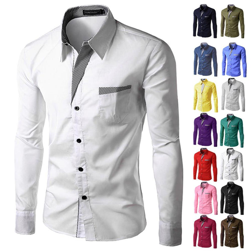 c4d3ab19d ... Dress Shirts Mens Striped Shirt Slim Fit Chemise Homme Long sleeve Men  Shirt Slim M- ...