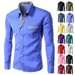Brand New Mens Formal Business Shirts Casual Slim Long Sleeve Dresse Shirts Camisa Masculina Casual Shirts Asian Size M-4XL - DealsBlast.com