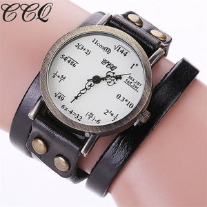 Vintage Creative Leather Math Formula Equation Wrist Watch