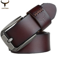 Vintage style pin buckle cow genuine leather belts for men 130cm high quality men belts