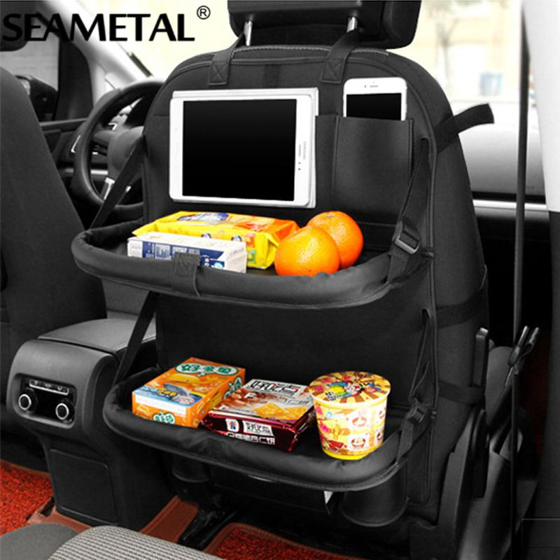 Car Seat Back Storage  Bag Floding Table  Auto Travel PU Leather Protector For Kids Automoblie In Car Accessoires - DealsBlast.com