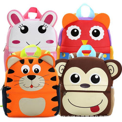 Children 3D Cute Animal Design Backpack Toddler Kid Neoprene School Bags Kindergarten Cartoon Comfortable Bag Giraffe Monkey Owl - Deals Blast