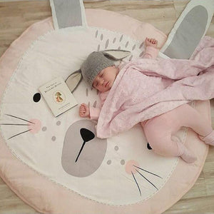 Baby Pink Rabbit Ears Crawling Carpet Room Decoration - DealsBlast.com
