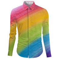 Rainbow Print Turn Down Collar Shirt Long Sleeve Men's Shirt - DealsBlast.com