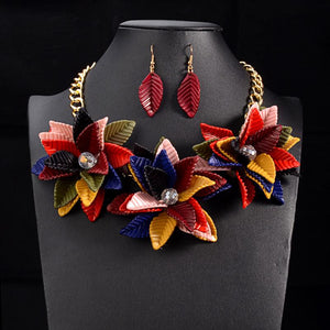 Color Flower Necklace & Pendant Vintage Statement Choker Collar Fashion Wedding Jewelry Sets Luxury Women Necklace - DealsBlast.com