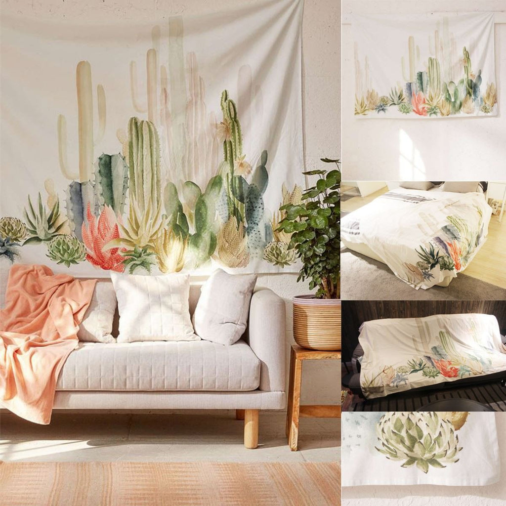 Virtual Dorm Room Design: Cotton Cactus Wall Hanging Tapestry Bohemian Dorm Cover