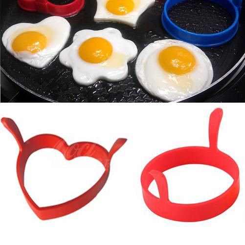 Creative Round Heart Kitchen Silicone Egg Frier Fried Pancake Ring Mould Tool