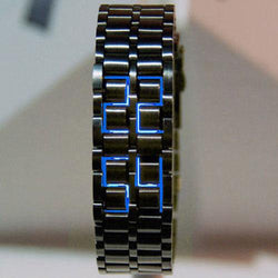 Creative Unique Black/Silver Digital Lava Wrist Watch Full Metal