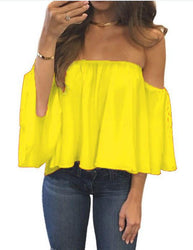 Cropped Tops  Summer Shirts Flare Sleeve Blusa Feminina Women Blouse Chiffon Blusas Sexy Off Shoulder Top Party - DealsBlast.com