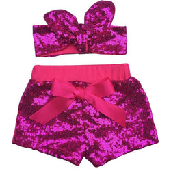 Baby Girls Sparkle Sequin Shorts and matching glitter Adjustable Headband.Girls birthday outfit Baby Girl sequin shorts - Deals Blast