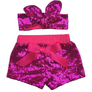 Baby Girls Sparkle Sequin Shorts and matching glitter Adjustable Headband.Girls birthday outfit Baby Girl sequin shorts - DealsBlast.com