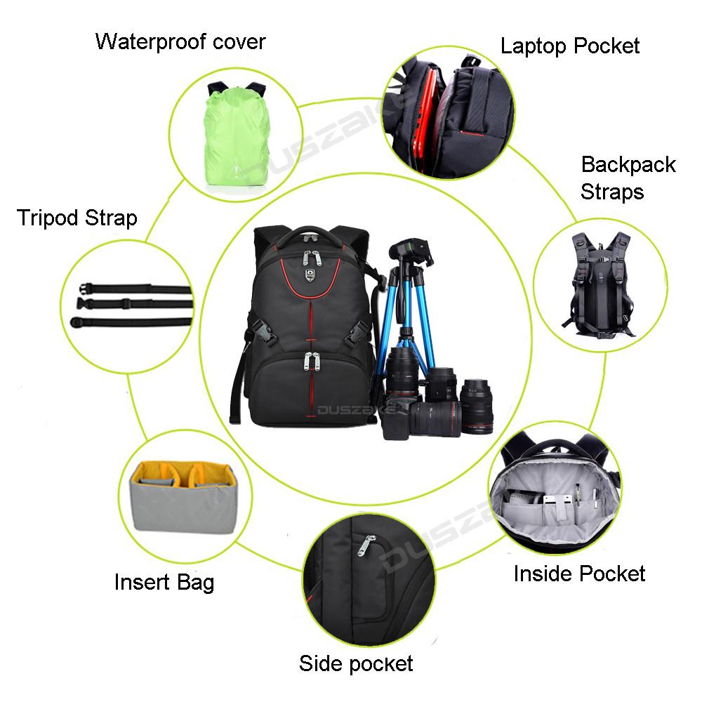 "DSLR Camera Photo Backpack Padding Divider Insert with 15"" Laptop Pack Travel Bag for Canon 5D 7D 600D Nikon D7200 Sony a6000 30"