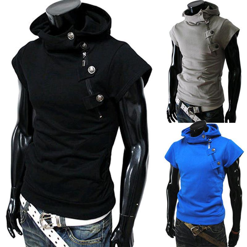 Detonation model of hooded buttons Men's t shirts fashion Cultivate one's morality short sleeve fitness