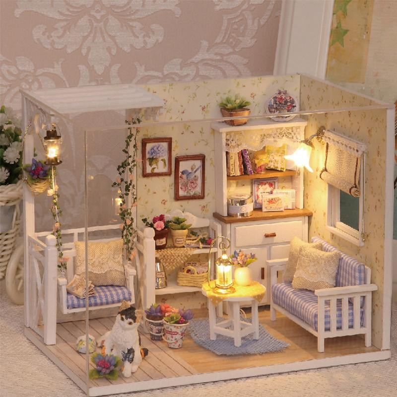 Diy Miniature Wooden Doll House Furniture Kits Toys Handmade Craft Min