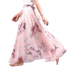 Elegant Summer Women Long Skirt Chiffon Beach Bohemian Maxi Skirts High Waist Tutu Casual Vestidos Print - Deals Blast